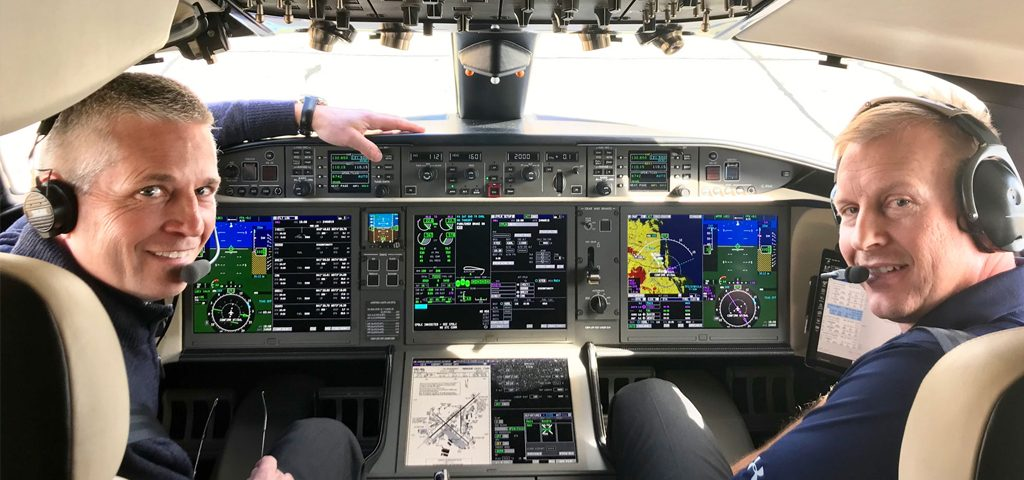 Bombardier pilots Kerry Swanson (left) and Andrew Sibenaler set a new speed record from Los Angeles to New York City in the Global 7500 demonstrator aircraft