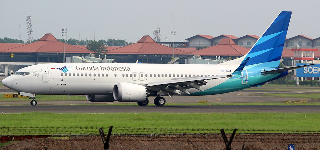 Garuda Indonesia's sole Boeing 737 Max 8 taxis at Jakarta's Soekarno-Hatta International Airport.