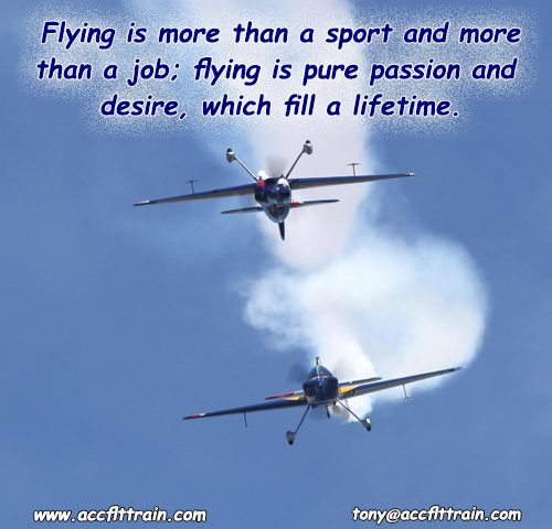 Flying is more than a sport and more than a job; flying is pure passion and desire, which fill a lifetime.General Adolf Galland