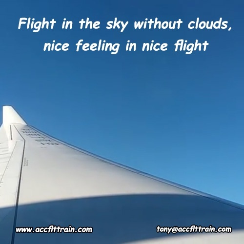 Flight in the sky without clouds, nice feeling in nice flight