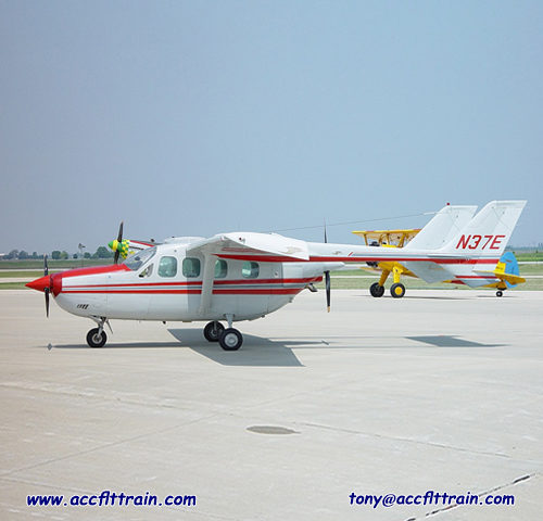 The Cessna P337 is engines are mounted in the nose and rear of its pod-style fuselage.